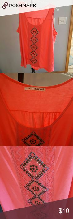 Colorful Tank Top Maurices tank top with embellished front.  In new condition. Maurices Tops Tank Tops
