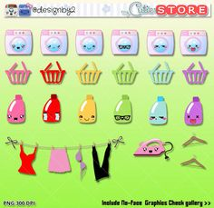 Laundry day Kawaii Clipart - Cute digital graphics perfects for planner stickers - Commercial use and silhouette machines OK