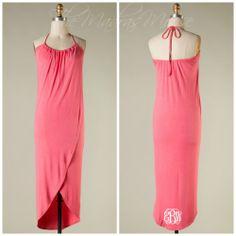 Halter Wrap Dress (coral)