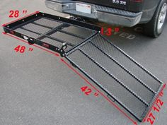 USEFUL Folding Strong Electric Wheelchair Hitch Carrier Mobility Scooter Loading Ramp Folding Electric Wheelchair, Wheelchair Ramp, Trailer Hitch Accessories, Wheelchair Accessories, Truck Hitch, Truck Accesories, Handicap Ramps, Ramp Design, Atv Trailers