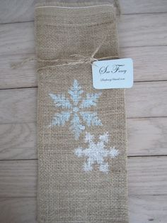 Burlap wine bag with hand stenciled snowflakes by sewfancy1, $8.00