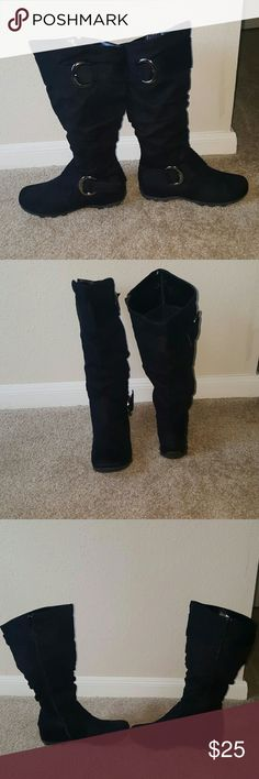 Black Boots Black suede Shoes Heeled Boots