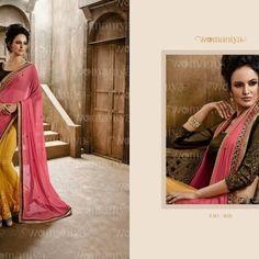 Bollywood Inspired Pink and Yellow Colour Chiffon Net Saree Buy Sarees Designer Sarees Collection, Saree Collection, Net Saree, Buy Sarees Online, Party Wear Sarees, Bollywood, Chiffon, Sari, Yellow