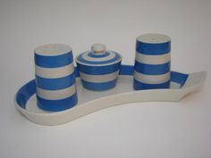 Judith Onions #cornishware cruet set by T G Green on eBay at the moment - a piece from our personal collection.