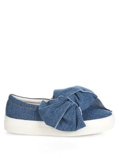 Denim bow slip-on platform trainers | Joshua Sanders | MATCHESFASHION.COM