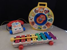 Vintage Fisher-Price Toys 3 LOT See-N-Say Farmer, Chatter Phone, Wood Xylophone
