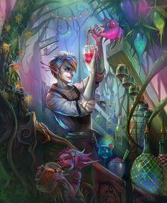 Verdant Mixologist by Carolina-Eade fairy Character Concept, Character Art, Concept Art, Fantasy Art Men, Fantasy World, Dnd Characters, Fantasy Characters, Fantasy Inspiration, Character Inspiration