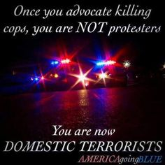I have nothing against peaceful protest, but killing people is not a protest. Protesters that cause destruction to property and hurt/kill people are Domestic Terrorists. They are nothing but thugs looking for a reason to spread their violence. Police Quotes, Police Wife Life, Police Family, Support Law Enforcement, Law Enforcement Quotes, Police Lives Matter, Peaceful Protest, God Bless America, Police Officer