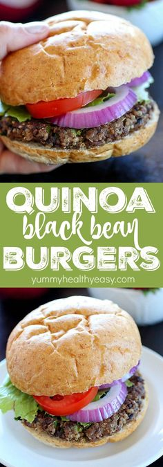 Quinoa Black Bean Burgers - meatless patties full of black beans, quinoa and spi. Patty Quinoa Black Bean Burgers – meatless patties full of black beans, quinoa and spi… Patty , Black Bean Quinoa Burger, Quinoa Burgers, Vegan Burgers, Meatless Burgers, Vegetarian Burger Patties, Quinoa Veggie Burger, Burger Recipes, Veggie Recipes, Vegetarian Recipes