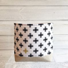 Fabric Storage Basket Black Crosses by acraftyhen on Etsy Blanket Basket, Fabric Storage Baskets, Modern Prints, Storage Containers, Natural Linen, Crosses, Kids Bedroom, Playroom, Craft Supplies