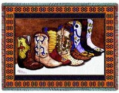 Showing Off Cowboy Boots Western Tapestry Throw Blanket