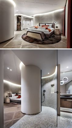 Hotel Room, The Ceiling Has A Delicate Square Pattern, While The Bathroom Is Tucked Away Behind A Curved Column / Only Me 💋💚💟💖✌✔👌💙💚 xoxo Luxury Interior, Interior Architecture, Interior Design, Hotel Unique, Design Boutique, Casa Hotel, Hotel Safe, Hotel Room Design, Hotel Suites