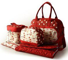 estampa de gatos, bolsa bebê, kit maternidade, bolsa maternidade, tofu studio, kit maternidade vermelho
