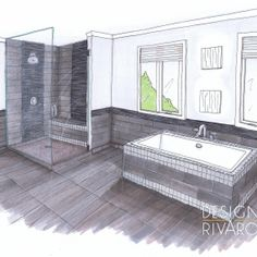 Croquis d'une salle de bain Drawing Interior, Interior Rendering, Interior Sketch, Plans Architecture, Interior Architecture, Exterior Design, Interior And Exterior, Decoration, House Design