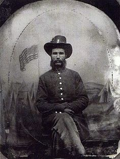"Clinton Hogue, and his brother Harvey, both served in the Civil War on the Union side. Clinton joined Company G of the Iron Brigade's Indiana 19th Regiment, was ""shot to pieces on two different occasions"", and participated in most of the major battles of the war. He began service as a private and ended as a 1st Lieutenant. On January 1st, 1864 he re-enlisted at Culpepper, Virginia."