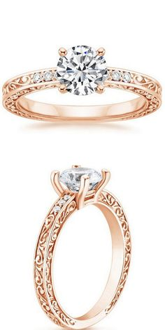 Rose Gold Delicate Antique Scroll Diamond Ring