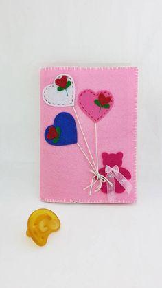Copri quaderno o notebook in feltro rosa regalo nascita a mamma amica incinta album foto ricordo crescita bambino o notizie mediche