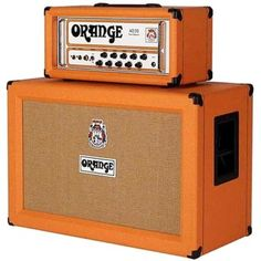 Orange Amps. Quite literally, which makes them stand out on a cluttered stage.