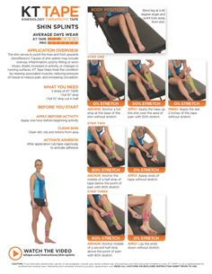 KT tape for shin splints, learn how to properly apply kinesio tape. When kinesiology tape is applied to an inflamed or swollen area, the lifting motion of the tape creates a space between the top layer of skin and the underlying tissues. Kt Tape Shin Splints, Kt Tape Knee, Shin Splint Exercises, Stretches For Shin Splints, K Tape, Bursitis Hip, Volleyball Workouts, Kinesiology Taping, Knee Arthritis