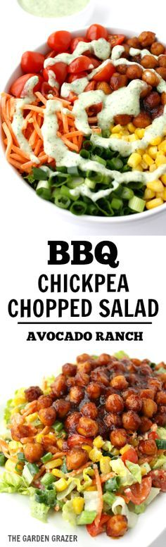 A flavor explosion chopped salad tossed with creamy avocado ranch, then topped with chickpeas simmered in BBQ sauce (vegan, gluten-free)