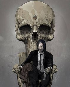 'John' - (reworking of my Punisher throne from awhile back) - - MJ.Hiblen ART - August 2019 at John Wick Hd, John Wick Movie, Fanart, Keanu Reeves John Wick, Comic Pictures, Pulp Art, Film Serie, Fantastic Art, Punisher