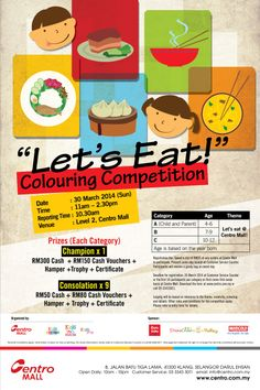 """Hey boys and girls,  Join our """"Let's Eat"""" Colouring Competition and let our your inner Picasso :)  For more details, please contact Customer Service @ 03-33433011."""