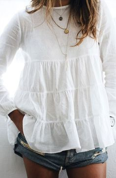 Main Image - Sincerely Jules 'Frida' Tiered Hem Cotton Blouse