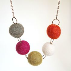 Felt bead necklace in orange, pink, white, grey and green, strung on antiqued copper chain by worthygoods. Handmade in Maine.