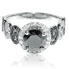 #carbonado 2ct Diamond Ring 1ct Black Diamond Solitaire With Black and White Side Diamonds White Gold	by Rings-MidwestJewellery.com http://blackdiamondgemstone.com/jewelry/wedding-anniversary/engagement-rings/2ct-diamond-ring-1ct-black-diamond-solitaire-with-black-and-white-side-diamonds-white-gold-com/