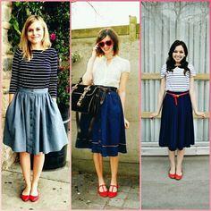 Lady like,  azul e vermelho #style #estilo #mulheres #woman #red #blue #saia #midi #lelekalle