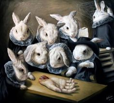 Jose Luis Lopez Galvan a bit of a macabre painting showing a human hand being studies by rabbits.