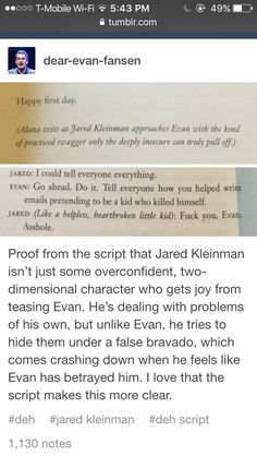 Jared Kleinman-  this adds some depth to his character