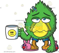 A Sad Fur Ball Holding A Coffee Mug :  A character that looks like a green fur ball with yellow beak and orange chicken feet wearing blue shorts and pink bunny slippers frowns while holding a white cup with a yellow expressionless emoji blue dragon fly on its forehead  The post A Sad Fur Ball Holding A Coffee Mug appeared first on VectorToons.com.