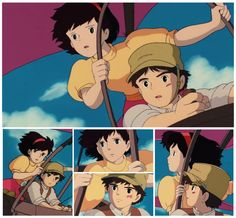 "Here are the pictures of Sheeta and Pazu leaving Laputa. From my favorite movie ""Laputa, Castle in the Sky"" I don't own everything. Sheeta and Pazu Leaving Laputa The Cat Returns, Studio Ghibli Art, Castle In The Sky, Hayao Miyazaki, Animation Film, Fan Art, Manga, Drawings, Artwork"