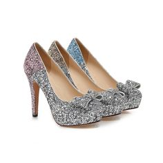 Glitter Women Pumps Platform Bowtie High Heels Wedding Shoes Woman