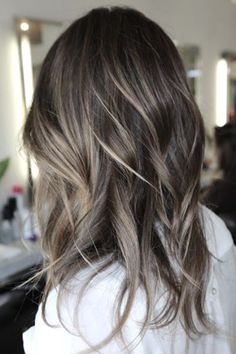 Popular Balayage Hairstyles for Brown Hair. Balayage is not just for the sweet, brown hair. Ash Brown Hair Color, Hair Color For Black Hair, Ombré Hair, New Hair, Wavy Hair, Dark Hair With Highlights, Blonde Highlights On Dark Hair Brunettes, Color Highlights, Blonde Peekaboo Highlights