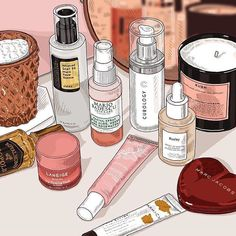 awporegirl s beautiful illustration of jaenmcq vanity Spot your favourite products nudieglow Paar Illustration, Makeup Illustration, Illustration Vector, Beauty Illustrations, Korean Aesthetic, Pink Aesthetic, Aesthetic Anime, Aesthetic Vintage, Aesthetic Clothes