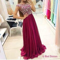 New Arrival Prom Dress,long prom dress,chiffon beaded long A-line Prom Dress,Formal Dress PD20181869