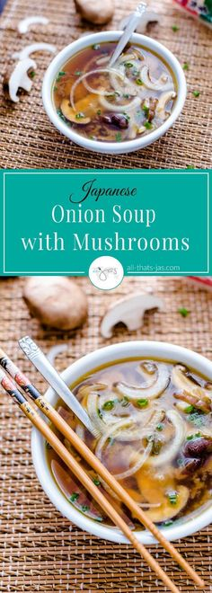 Healthy, vegetarian, vegan and gluten-free recipe for Japanese onion mushroom soup is a perfect and delicious meal starter.