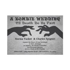 Wouldn't a Zombie wedding be fun for the Halloween bride and groom.