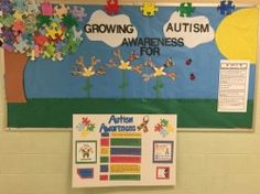 "Michelle Walsh of the Little Egg Harbor School District created this ""Growing Autism Awareness"" bulletin board."