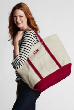 Large Natural Open Top Canvas Tote Bag from Lands' End