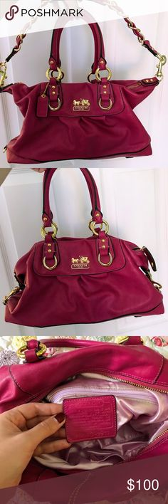 968de2575e42 Fuchsia Coach Purse with add on straps Fuchsia Coach Purse with add on  straps and gold