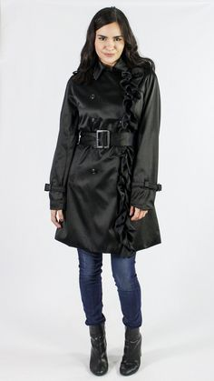 Betsey Johnson Ruffled Trench Coat