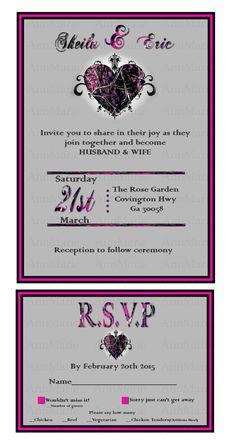 Muddy Girl Camo Wedding Invitation with reply card, Pink camo wedding invitation set by AnnMarieDsgns on Etsy