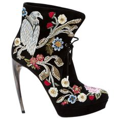 ea2c722d7bec Alexander Mcqueen Hand-painted And Embroidered Ankle Boots