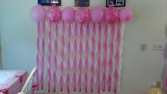 Pink and white streamer decoration