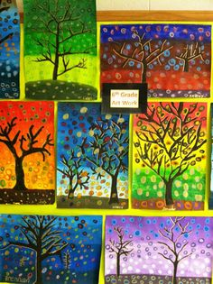 Monochromatic or analogous colors for the background. Darkest colors at the top, changing to lightest. Once painted and dried, went over with black tempera paint to create a silhouette of a tree. They needed at least 5 combinations of colors varying from dark to light for swirls. Then start adding them in layers (D to L)from the top of the sky, middle, to the bottom. They chose contrasting color combination for the foreground and tree branches. Last, gold paint to show direction of light
