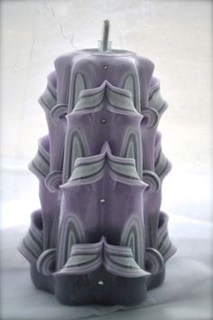 Purple Gradient 6 Hand Carved Candle by TheCarvedCandle on Etsy, $25.00