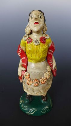"""Old vintage Mexican Ocumicho ceramic sculpture China Poblana dancer 9 1/2"""" tall"""